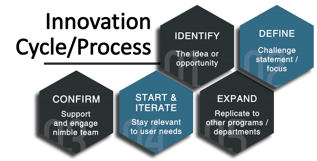 Innovation Cycle/Process; 1. Identify the idea or opportunity. 2. Define challenge statement/focus. 3. Confirm support and engage nimble team. 4. Start and iterate: Stay relevant to user needs. 5. Expand: Replicate to other programs/departments