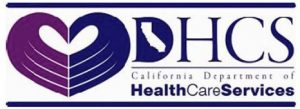 Department of Health Care Services logo; two outstretched palms coming together to form a heart