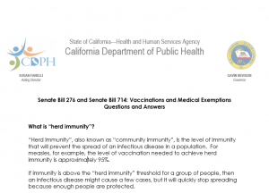 Senate Bill 276 and Senate Bill 714: Vaccinations and Medical Exemptions Questions and Answers