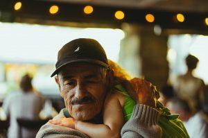 Grandparent holding grandchild