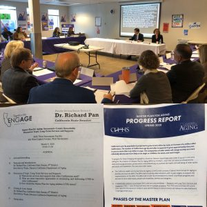 Director Kim McCoy Wade and Senator Pan, and group of roundtable participants, image of event agenda, image of Spring 2020 MPA Progress Report