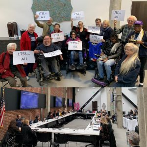 """Group of stakeholders smiling holding signs that read """"LTSS FOR ALL"""", group shot of SAC committee members sitting around a large hollow rectangle table."""